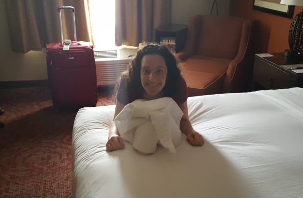 Towel elephant on bed